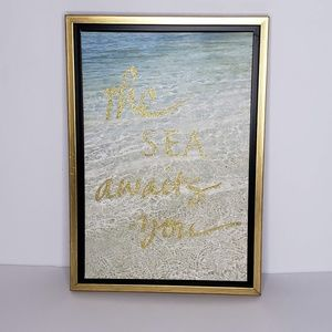 The Sea Awaits You Beach Ocean Wall Hanging Print